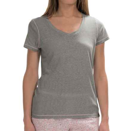 Jane and Bleecker Drapey V-Neck T-Shirt - Short Sleeve (For Women) in Olive - Overstock