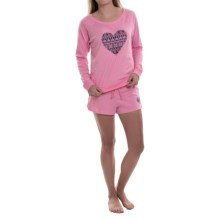 Jane and Bleecker Heart Print Pajamas - Shorts, Long Sleeve (For Women) in Pink - Closeouts