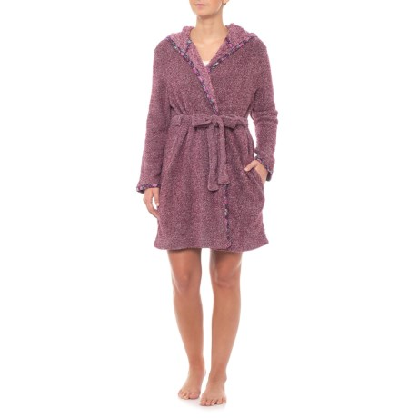 Jane and Bleecker Two-Tone Plush Robe - Long Sleeve (For Women) in 73e22eb94