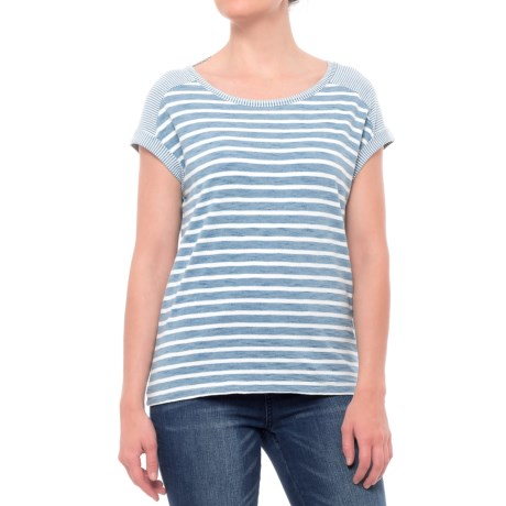 Jane and Delancey Horizontal Stripe Shirt - Short Sleeve (For Women) in Heavy Bleach Multi