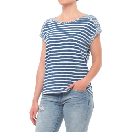 Jane and Delancey Horizontal Stripe Shirt - Short Sleeve (For Women) in Middle Bleach
