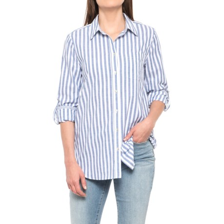 Jane and Delancey Striped Button-Up Shirt - Long Sleeve (For Women) in Blue Multi