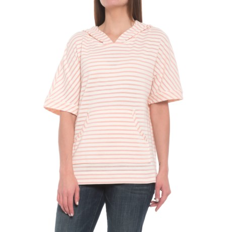 Jane and Delancey Striped Hoodie Shirt - Short Sleeve (For Women) in Pink Multi