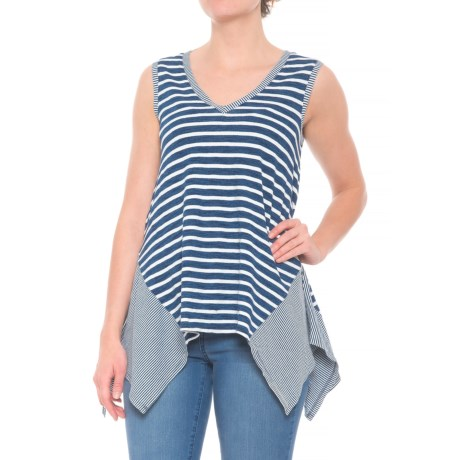 Jane and Delancey Striped-Side Shirt - V-Neck, Sleeveless (For Women) in Middle Bleach