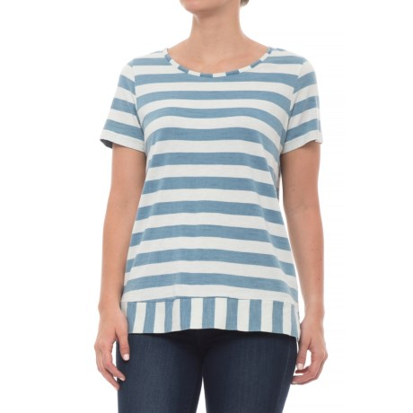 Jane and Delancey Thick Stripe Shirt - Short Sleeve (For Women) in Heavy Bleach Multi