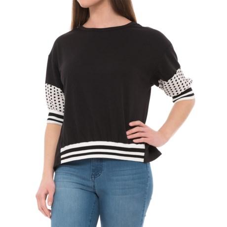 Janelle Paul Pattern Sleeve Shirt  - Short Sleeve (For Women) in Black