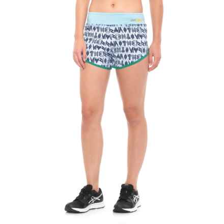 Janji Guatemala Perfect Shorts - Built-In Brief (For Women) in Blue Print - Closeouts