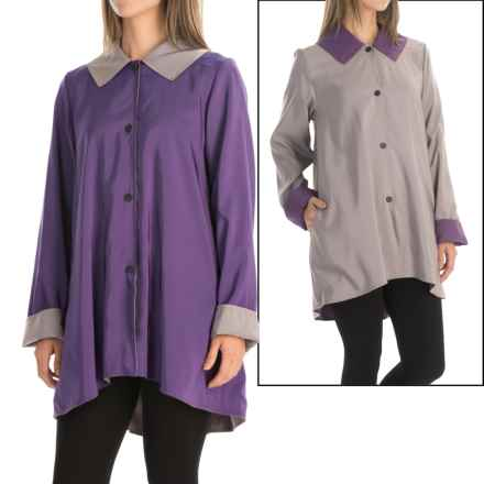 Janska Drew All-Weather Trapeze Coat - Reversible (For Women) in Grape/Sandstone - Closeouts