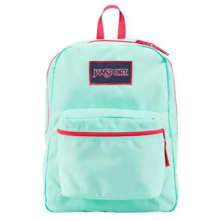 JanSport Big Student Overexposed Backpack in Aqua Dash/Fluorescent Red - Closeouts