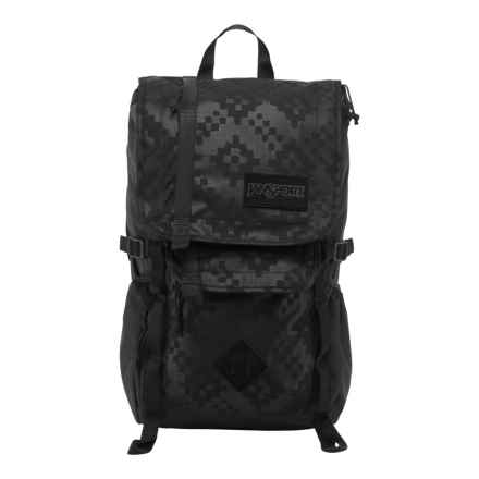 Jansport Hatchet Special Edition Backpack in Black/Heat Embossed Ikat Squares - Closeouts