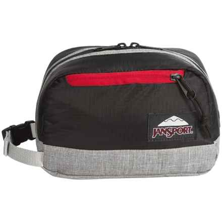 JanSport Wedge DL Toiletry Bag in Blackpolyripstop/Greymarl - Closeouts