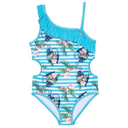 Jantzen Asymmetrical Stripe and Anchor Print One-Piece Swimsuit - UPF 50 (For Big Girls) in Aqua/White - Closeouts