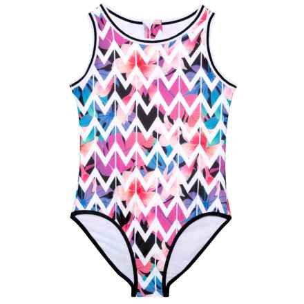 350e04963f4 Jantzen Chevron Leaf Print One-Piece Swimsuit - UPF 50 (For Big Girls