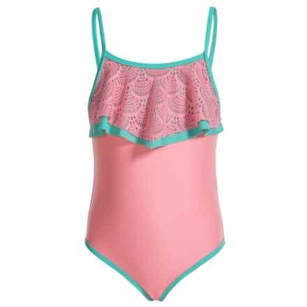 Jantzen Crochet Sorbet Swimsuit - UPF 50+, Adjustable Straps (For Little Girls) in Coral Glow/Aqua Crush - Closeouts