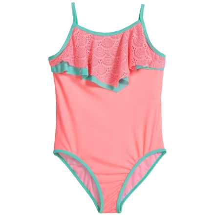 Jantzen Crochet Sorbet Swimsuit - UPF 50+ (For Big Girls) in Coral Glow/Aqua Crush - Closeouts