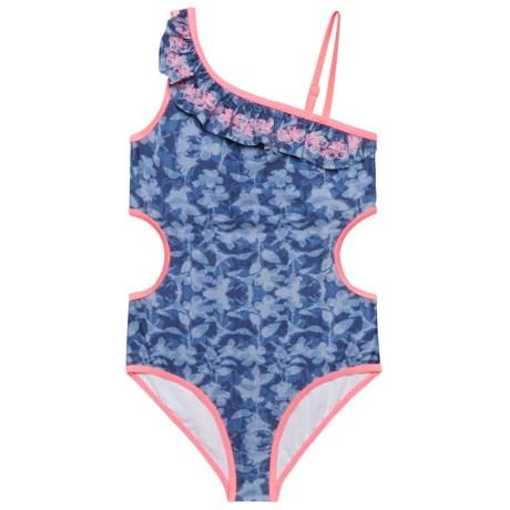 Jantzen Denim Print One-Piece Swimsuit - UPF 50+ (For Big Girls) in Indigo Tropicana Multi