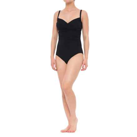 Jantzen Draped Surplice One-Piece Swimsuit - Removable Cups (For Women) in Black - Closeouts