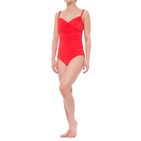 Jantzen Draped Surplice One-Piece Swimsuit - Removable Cups (For Women) in Fire Coral