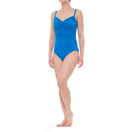 Jantzen Draped Surplice One-Piece Swimsuit - Removable Cups (For Women) in The Blues - Closeouts