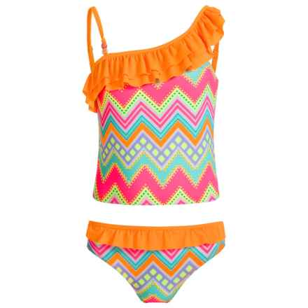 Jantzen Fiesta In Cabo Tankini Set - UPF 50+ (For Big Girls) in Chevron - Closeouts
