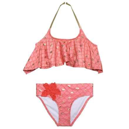 Jantzen Flounce Foil Mermaid Scales Bikini Set - 2-Piece (For Little Girls) in Coral/Gold - Closeouts