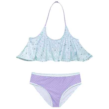 Jantzen Flounce Foil Stars Mermaid Bikini Set (For Big Girls) in Teal/Purple - Closeouts