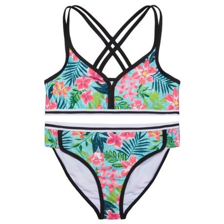 Jantzen Foliage Print Bikini Set - UPF 50+ (For Little Girls) in Aqua Tropicana Multi