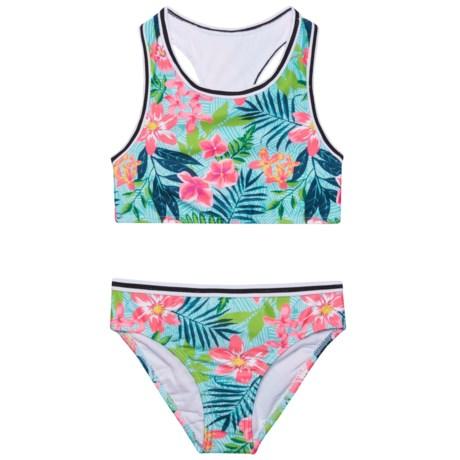 Jantzen Foliage Print Tankini Set - UPF 50+ (For Little Girls) in Aqua Tropicana Multi