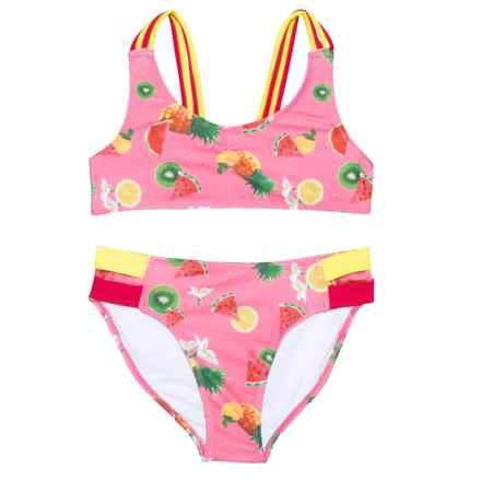 Jantzen Fruit and Flower Print Bikini Set (For Big Girls) in Pink/Yellow - Closeouts