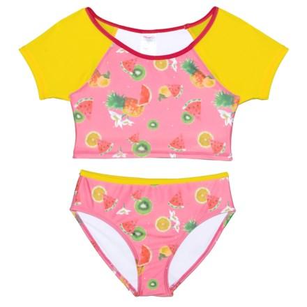 5ea596857 Jantzen Fruit Flower Print Tankini Set (For Big Girls) in Pink Yellow