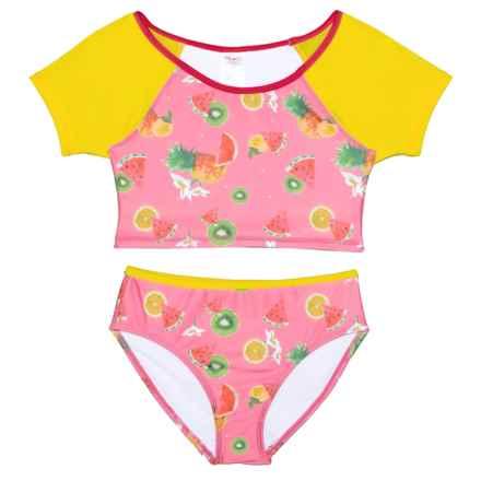 Jantzen Fruit/Flower Print Tankini Set (For Big Girls) in Pink/Yellow - Closeouts