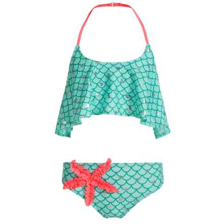 Jantzen Little Mermaid Flounce Bikini Set - UPF 50+ (For Little Girls) in Scalloped Shell/Silver Foil Sea Shells - Closeouts