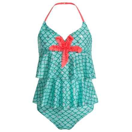 Jantzen Little Mermaid Ruffle Tankini Set - UPF 50+ (For Big Girls) in Scalloped Shell/Silver Foil Sea Shells - Closeouts