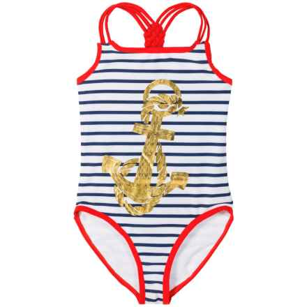Jantzen One-Piece Swimsuit - UPF 50+ (For Big Girls) in Gold Anchor/Stripe - Closeouts