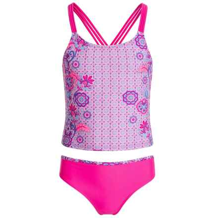 Jantzen Pastel Tankini Set - UPF 50+ (For Big Girls) in Pastel Paisley - Closeouts
