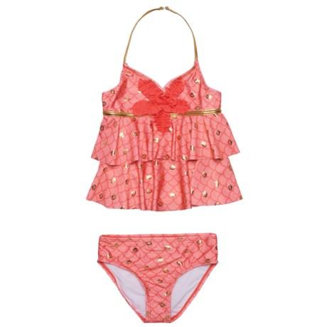 Jantzen Ruffle Halter Tankini Set - UPF 50+ (For Big Girls) in Mermaid Coral