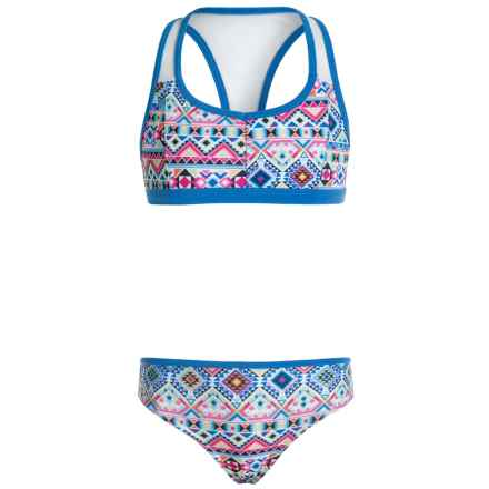 Jantzen Southwest Sport Bikini Set - UPF 50+ (For Big Girls) in Neon Aztec - Closeouts