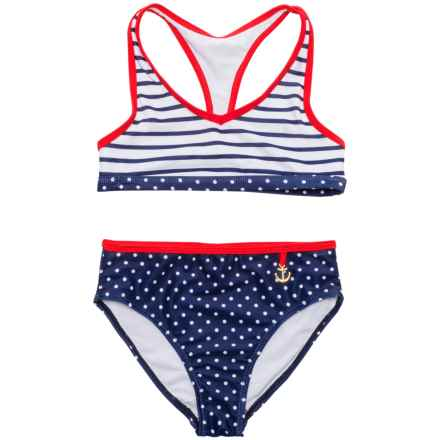 Jantzen St. Tropez Bikini Set - UPF 50+ (For Big Girls) in Gold Anchor/Stripe - Closeouts