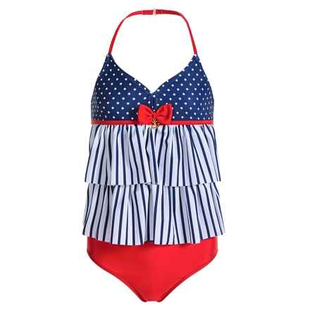 Jantzen St. Tropez Tiered Tankini Set - UPF 50+ (For Big Girls) in Blue Depths/White Breton/Polkadot - Closeouts