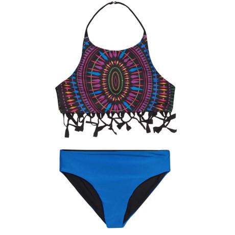 Jantzen Tassel Top Bikini Set - UPF 50+, Reversible Bottoms (For Little Girls) in Neo Tribe Multi