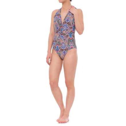 Jantzen Vibrant Paisley Plunge One-Piece Swimsuit - Built-In Bra (For Women) in Multi - Closeouts