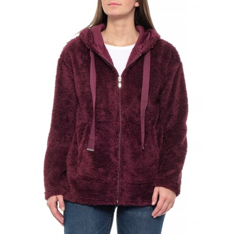 b84d5e4223e Jason Maxwell Outerwear Oversized Cozy Fleece Jacket (For Women) in Wine