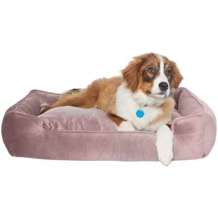"Jax & Bones Plush Velour Lounge Dog Bed - 34x27"" in Vintage Mauve - Closeouts"