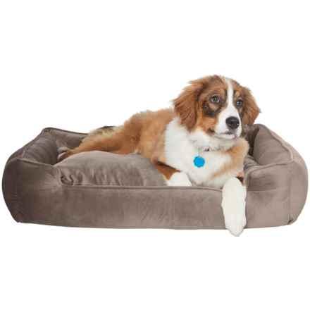 "Jax & Bones Plush Velour Lounge Dog Bed - 34x27"" in Vintage Oak - Closeouts"