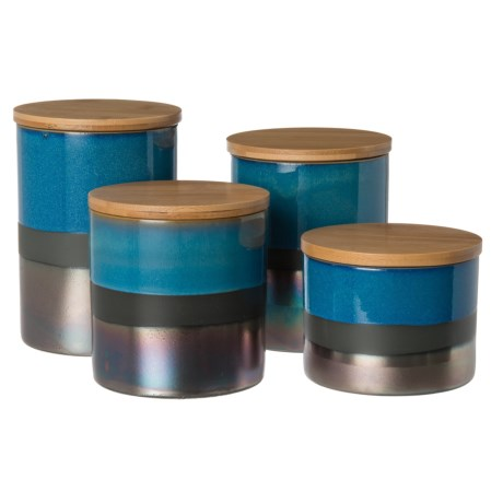Jay Imports Abingdon Canister Set - 4-Piece in Blue/Silver