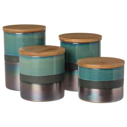 Jay Imports Abingdon Canister Set - 4-Piece in Green/Silver - Closeouts