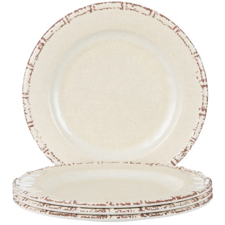 Jay Imports Bamboo Dinner Plates - Set of 4 in White