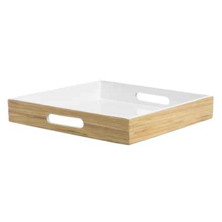 Jay Imports Bamboo Square Tray with Handles in White - Overstock