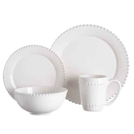 Jay Imports Bianca Bead Round Dinnerware Set - 16-Piece in White - Closeouts