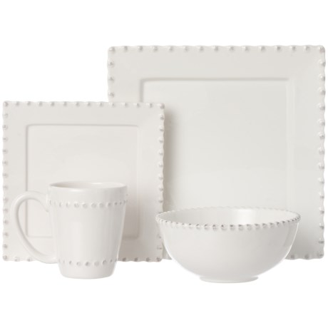 Jay Imports Bianca Bead Square Dinnerware Set - 16-Piece in White